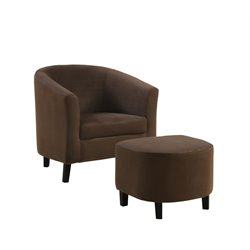 Padded Micro-Fiber Barrel Chair And Ottoman in Brown