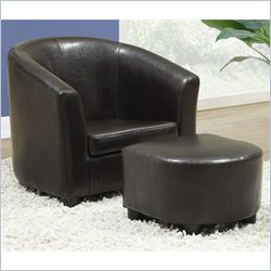 Kids Chair and Ottoman Set in Dark Brown Faux Leather