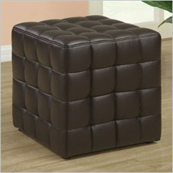 Faux Leather Ottoman in Dark Brown