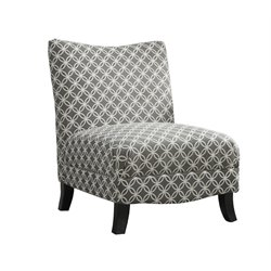 Circular Fabric Accent Slipper Chair in Gray Geometric Pattern