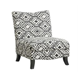 Abstract Fabric Slipper Chair in Beige Geometric Pattern