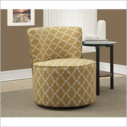 Lantern Fabric Accent Chair with Swivel Base in Gold