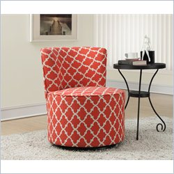 Lantern Fabric Accent Chair with Swivel Base in Coral
