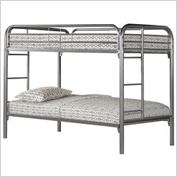 Twin Over Twin Bunk Bed in Silver