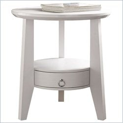 Accent Table in White with Drawer