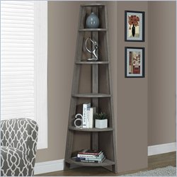 Corner Accent Etagere in Dark Taupe