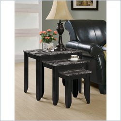 3 Pieces Nesting Table Set in Black and Gray