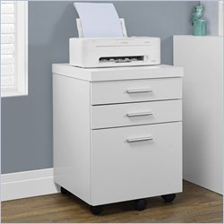 File Cabinet with Three Drawers in White