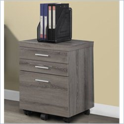 File Cabinet with Three Drawers in Dark Taupe