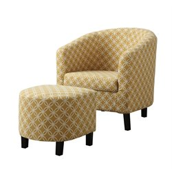 Upholstered Accent Club Arm Chair and Ottoman in Yellow