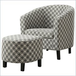 Curved Back Accent Barrel Chair and Ottoman in Gray and White
