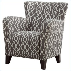 Fabric Club Chair in Brown Geometric Pattern