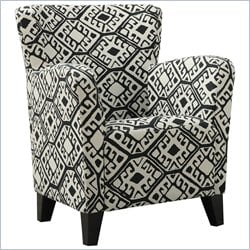Fabric Club Chair in Black Geometric Pattern