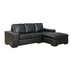 Leather Sofa Lounger in Black
