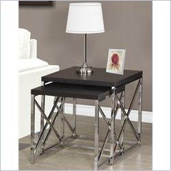 2 Piece Hollow-Core Nesting Table Set in Rich Cappuccino