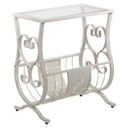 Magazine Table in Antique White with Tempered Glass