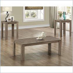 3 Piece Rectangular Coffee Table Set in Dark Taupe