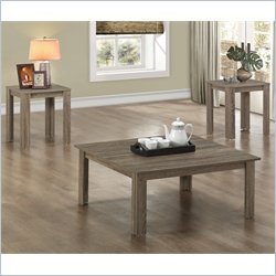 3 Piece Square Table Set in Dark Taupe
