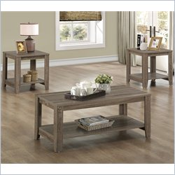 3 Piece Coffee Table Set with Bottom Shelves in Dark Taupe