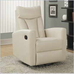 Padded Back Swivel Glider Leather Recliner in Ivory