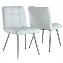 Dining Chair in White and Chrome (Set of 2)