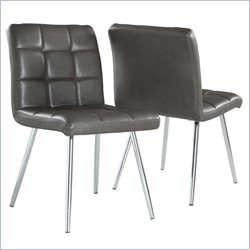 Dining Chair in Grey and Chrome (Set of 2)