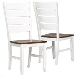 Dining Chair in Antique White and Oak (Set of 2)
