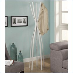 Metal Contemporary Coat Rack in Satin White