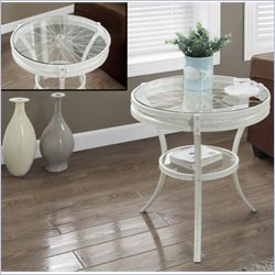 Accent Table in Antique White with Tempered Glass