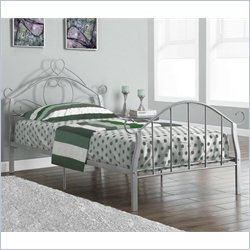 Twin Metal Bed Frame with Heart in Silver