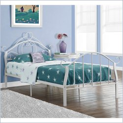 Twin Metal Bed Frame with Heart in White