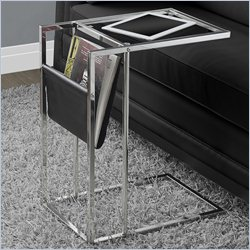 Accent Table in Black and Chrome with Magazine Rack