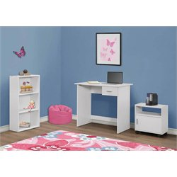 3 Piece Kids Desk Set in White