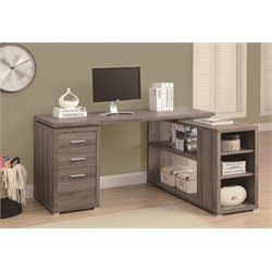 Hollow Core L Shaped Home Office Desk in Dark Taupe