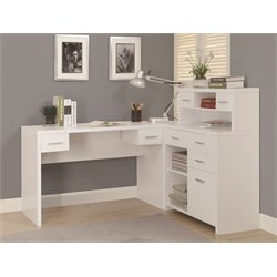 L Shaped Home Office Desk with Hutch in White