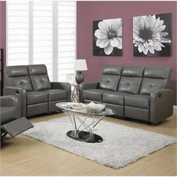 2 Piece Button Tuft Reclining Glider Leather Sofa Set in Gray