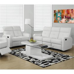 2 Piece Button Tuft Reclining Glider Leather Sofa Set in White