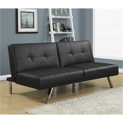 Leather Tufted Split Back Convertible Sofa in Black