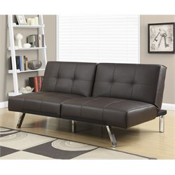 Leather Tufted Split Back Convertible Sofa in Dark Brown
