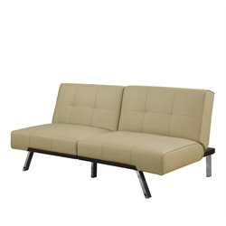 Leather Tufted Split Back Convertible Sofa in Taupe