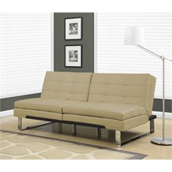Leather Pillow Top Split Back Convertible Sofa in Taupe