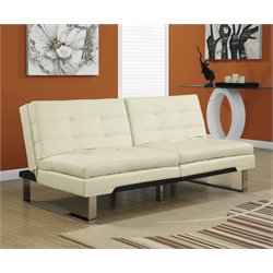 Leather Pillow Top Split Back Convertible Sofa in Ivory