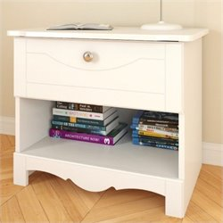 Wood Nightstand in White