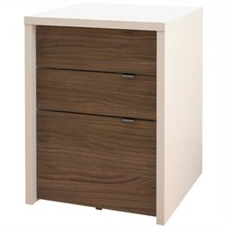 3 Drawer Filing Cabinet in White and Walnut