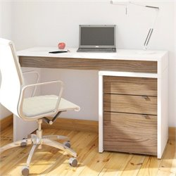 3 Drawer Computer Desk in White and Walnut