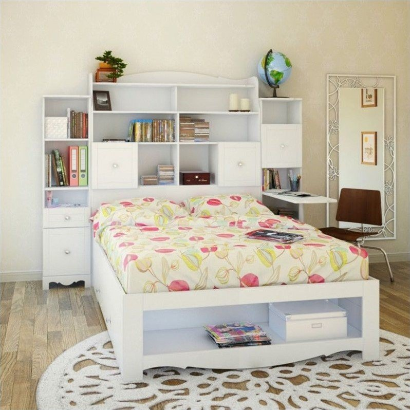 Full Tall Bookcase Headboard in White