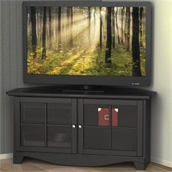 49'' Two Door Corner TV Stand in Black