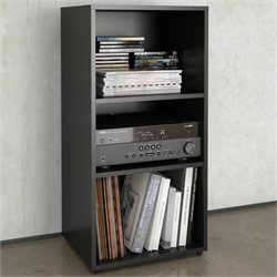 Open Storage Module in Black Lacquer & Melamine