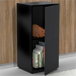 Door Storage Module in Black Lacquer & Melamine