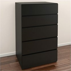 5 Drawer Chest in Black Lacquer & Melamine